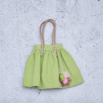 Blythe green velvet skirt with pom pom