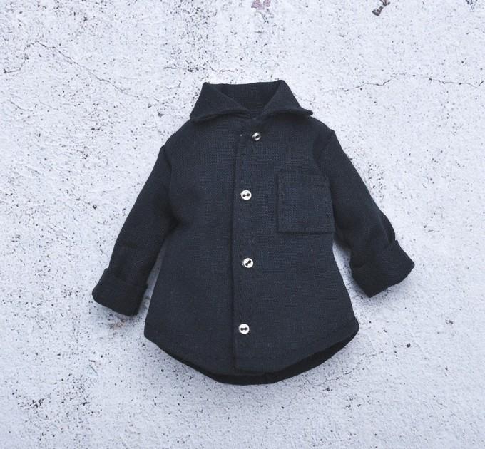 Blythe  black cotton shirt / Pullip shirt / Blythe clothes
