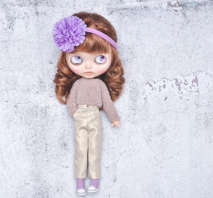Blythe golden jeans / golden pants / Azone, Pullip doll jeans