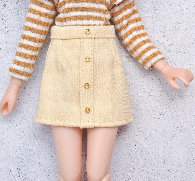Blythe doll yellow denim skirt