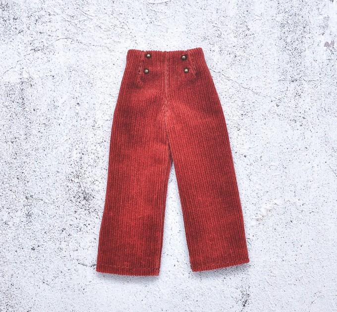 doll deep red velvet pants