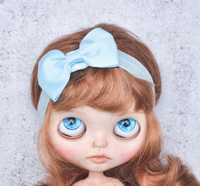 Blythe light blue elasticized headband  with decorative bow