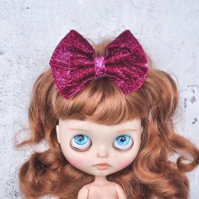 Blythe headband dark magenta sparkle bow