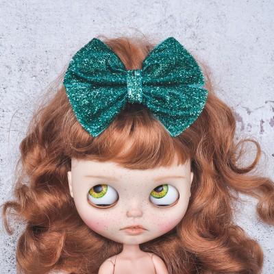 Blythe headband emerald sparkle bow