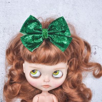 Blythe headband bright green sparkle bow