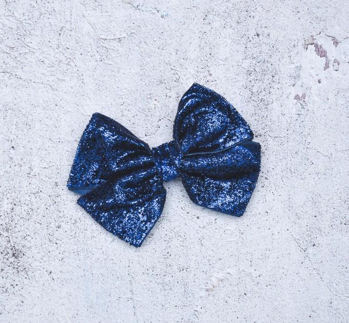 Blythe headband navy blue sparkle bow