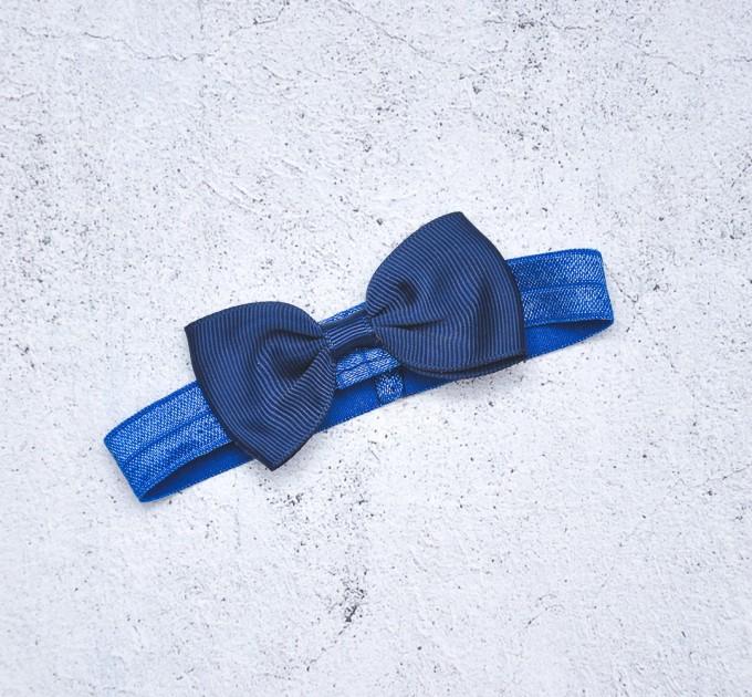 Blythe light dark blue elasticized headband  with decorative bow