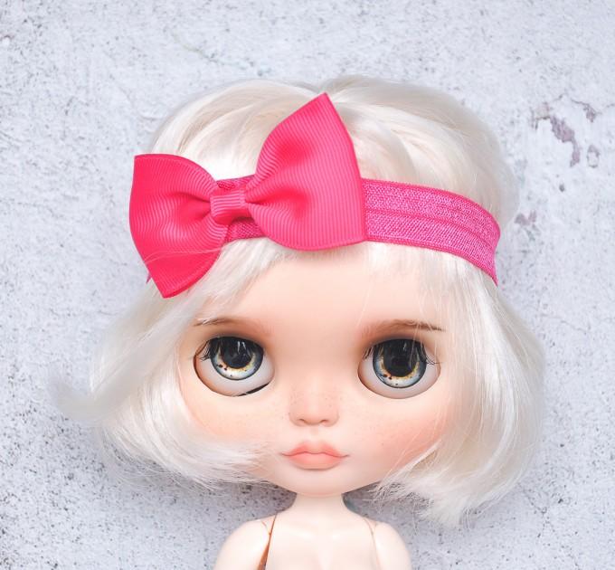 Blythe raspberry elasticized headband  with decorative bow