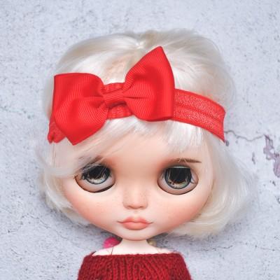 Blythe red  elasticized headband  with decorative bow