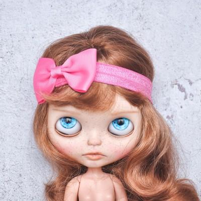 Blythe hot pink elasticized headband  with decorative bow