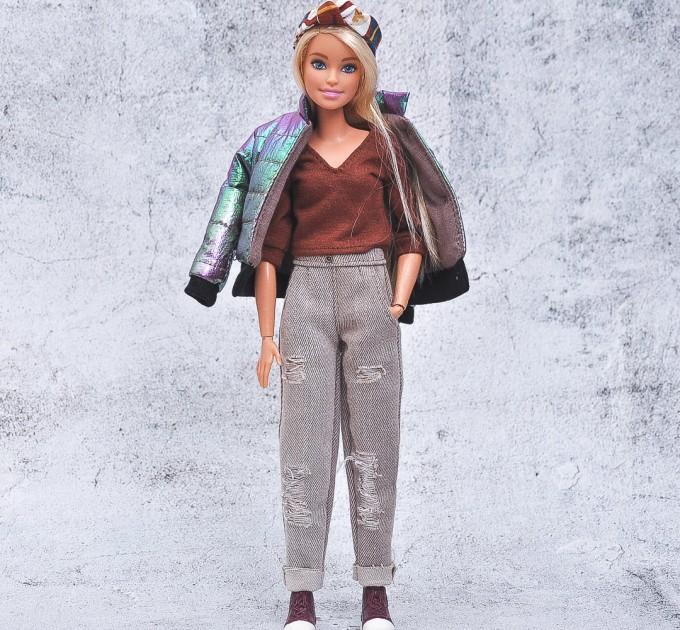 chameleon coat, khaki hat, blouse for Barbie doll