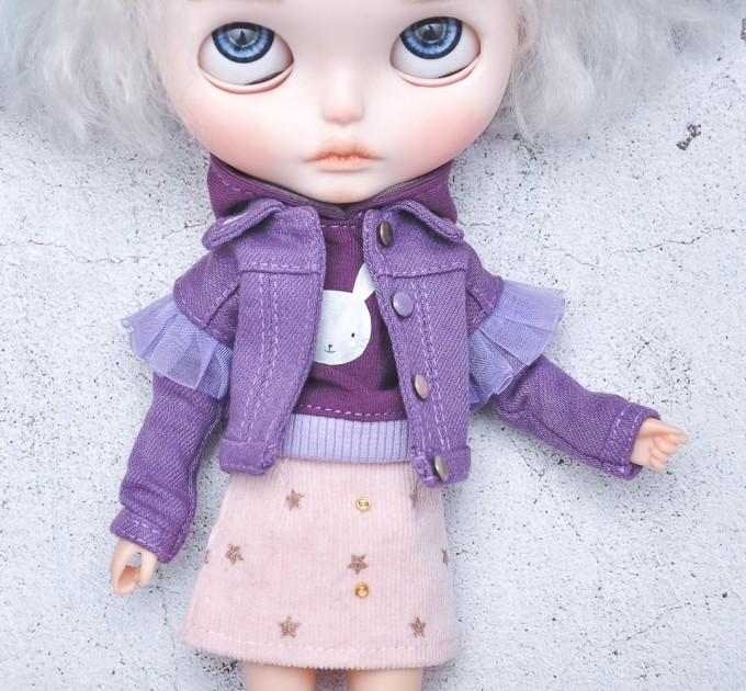 Blythe doll purple denim trucker jacket