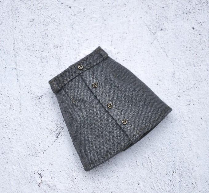 Blythe denim khaki skirt / Pullip, Azone doll clothes