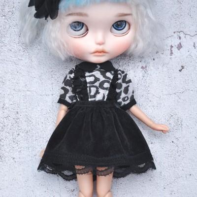 Blythe black set shirt & skirt
