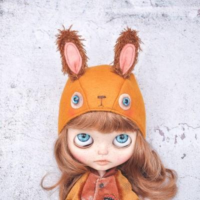 rabbit bonnet for Blythe doll