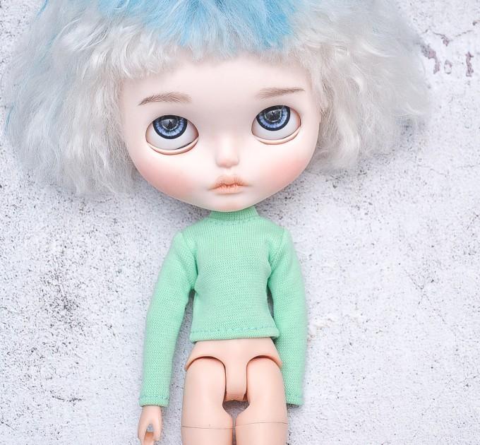 Blythe  aquamarine long sleeve turtle neck / Holala sweater / doll clothes