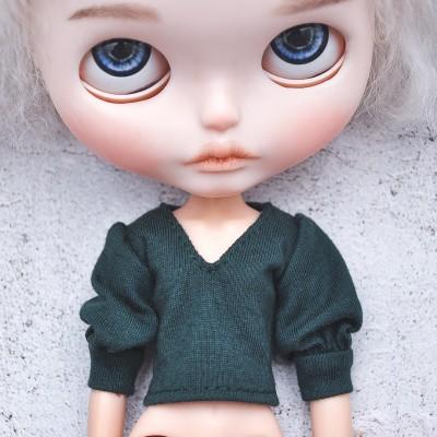 Blythe deep green blouse / Holala,  Pullip, Azone doll