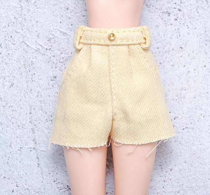 Blythe yellow denim shorts / doll clothes, doll pants/  Azone pants / Pullip shorts