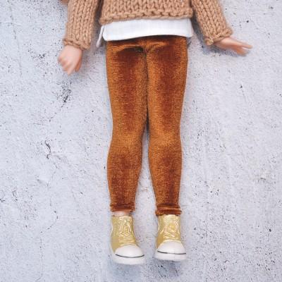 Blythe rust velour  leggings /Pullip  doll leggings / blythe outfit